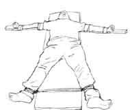"""酷刑示意图:法轮功学员被绑成""""大"""""""