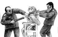 图为酷刑之一:头上套塑料袋的描绘