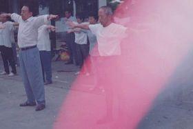 湖南郴州法轮功学员在苏仙岭集体炼功时拍到的神奇光柱