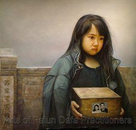 """董锡强,《孤儿泪》,油画,48"""""""