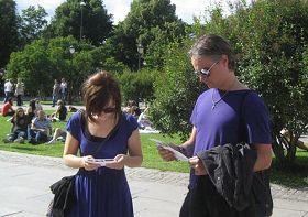 """""""Noruega practicantes de Falun Gong en la Plaza del Capitolio frente a la persecución, diciendo la verdad actividades.  """""""