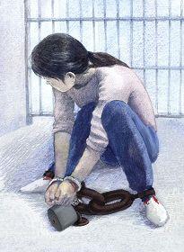 中共酷刑示意图:手铐脚镣