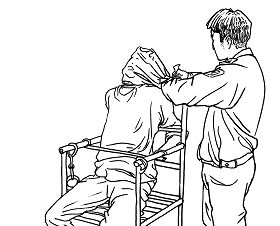 中共酷刑示意图:塑料袋闷