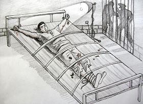 中共酷刑示意图:长期铐在床上