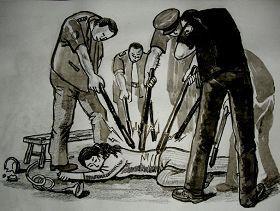 中共酷刑示意图:多根电棍电击