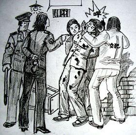 中共酷刑示意图:殴打、撞头