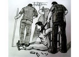 中共酷刑示意图:背铐、电击、棒打、踩踢