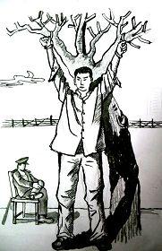 中共酷刑示意图:长期吊铐