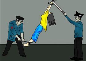 酷刑示意图:吊起来晃荡