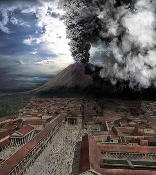 '油画:庞贝火山喷发'
