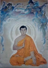 '书画展门前正厅中央的师父法像(学员作品油画)'