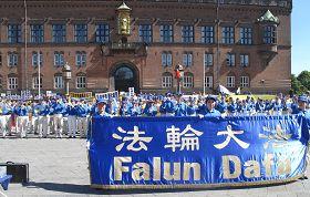 '二零一三年七月二十日,欧洲法轮功学员在丹麦哥本哈根议会广场举行反迫害集会'