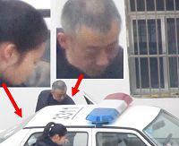 图3:到潍坊市洗脑班迫害法轮功的两个恶警(一男一女、一老一年轻)。这两个恶警从警车上下来,后面是洗脑班牢房的窗户。然后这两个恶警和洗脑班的恶人有说有笑的进入迫害法轮功学员的牢房。