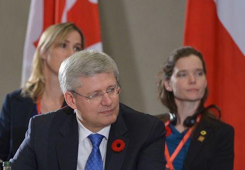 在中国北京参加APEC峰会期间,加拿大总理哈珀向中国官员提出法轮功受迫害问题。图为哈珀在APEC会议上。(MANDEL