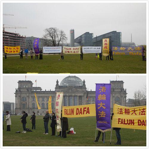 法轮功学员在总理府和国会大厦前呼吁制止迫害法轮功