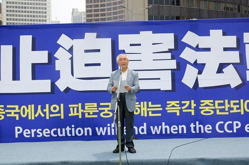 图11:北韩人权信息中心董事长、人权活动家金尚宪表示,韩国各界人士反对中共迫害法轮功。