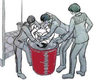 中共酷刑示意图:溺水——把人头按进厕所凉水桶里憋