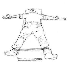 中共酷刑示意图:钉大板