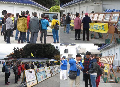 """图3:""""正法之路图片展""""展示了法轮功在世界各地受欢迎和洪传的盛况,吸引许多民众驻足仔细阅读、观看。"""