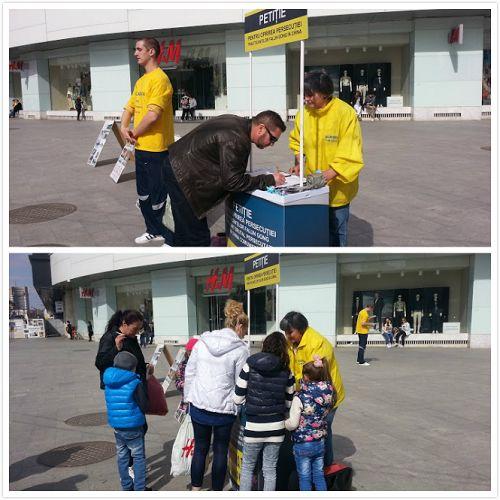 部分罗马尼亚法轮功学员在布加勒斯特市中心举行了讲真相征签活动