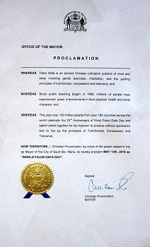 安省北部城市苏圣玛丽(Sault Ste. Marie)市长Christian Provenzano发出的褒奖