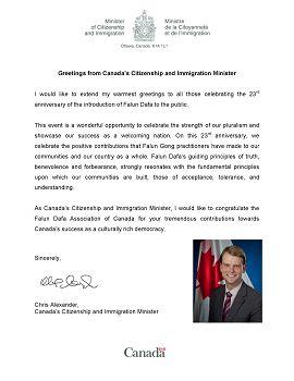 图:公民及移民部部长克里斯•亚历山大的贺信