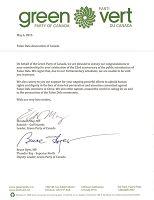 联邦绿党领袖、国会议员伊丽莎白•梅和联邦绿党副领袖、国会议员布鲁斯•海耶的联名贺信。