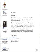 国会议员若克斯安妮•詹姆斯的贺信