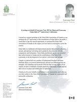 曼尼托巴省国会议员劳伦斯•托伊特的贺信