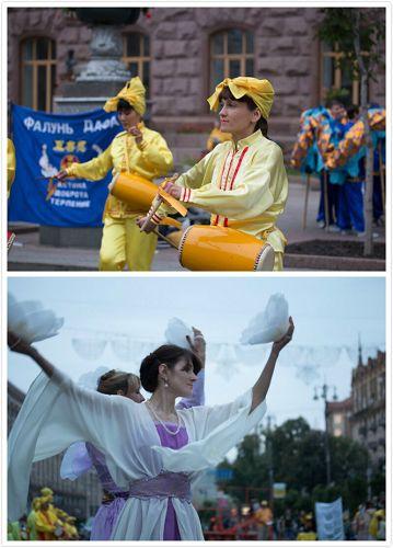 法轮功学员表演了舞蹈、舞龙和腰鼓,展现出修炼者的喜悦和祥和