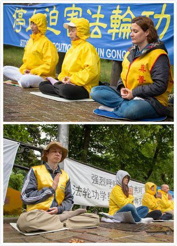 法轮功学员中使馆前和平抗议