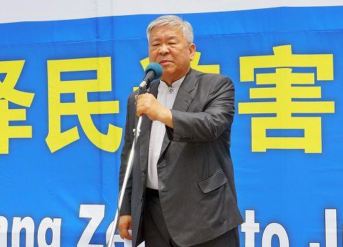 图14:图为首尔朝鲜族教会牧师徐京锡演讲。