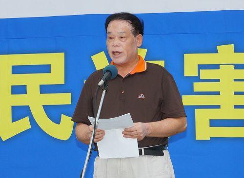 """图15:图为""""中国民主运动海外联席会议""""韩国分部部长武振荣在演讲。"""
