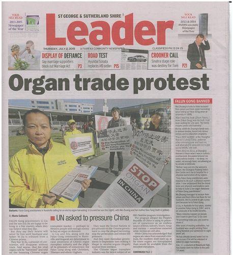 澳洲报纸《领先者》(The Leader)报导了中共活摘器官的罪行及法轮功学员诉江大潮