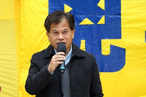 """香港前立法局议员冯智活牧师到场声援并发言强调坚信""""中共必定灭亡""""。"""