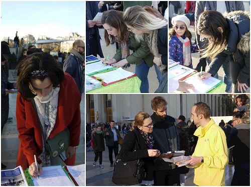 '图2:游人民众签字反迫害'