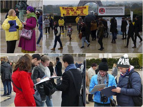 '图:风雨中,法轮功学员把真相告诉世人,很多民众签名支持'