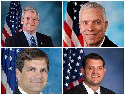 '图:四位美国国会议员联名致信习近平,呼吁释放被非法迫害的法轮功学员。图上排从左至右:丹尼斯·罗斯(DennisRoss),比尔·约翰逊(BillJohnson);下排从左至右:古斯·比利拉其斯(Gus