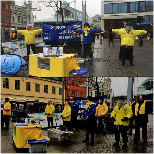 '图1:瑞典哥德堡的学员们在市中心举办弘法活动,图为学员们在集体炼功'