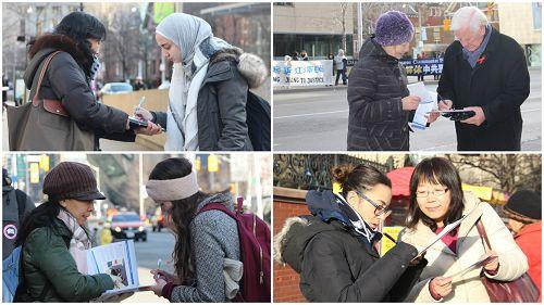 图3-4:从去年十月开始,截至当日,多伦多各界民众已有两万多人签名举报迫害法轮功的元凶江泽民。
