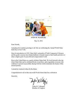 圖4:紐約州第七選區國會議員 Nydia Velazquez 在賀信祝賀世界法輪功大法日。