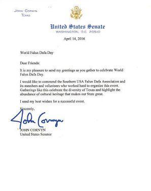 美国德州参议员康尼的贺信