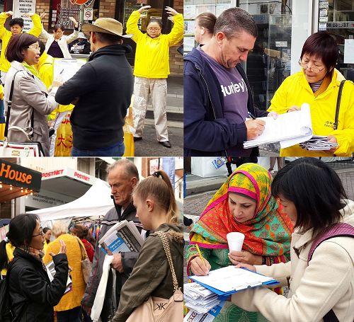 图4-5:黑镇文化节,游人纷纷签名支持法轮功