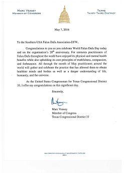 國會議員馬克·維西的賀信