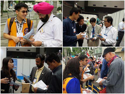 来自台湾和日本的法轮功学员利用机会向各国狮子会代表传递真相
