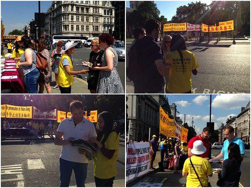 图1-4:二零一六年七月二十日,在英国会大厦前,各界民众在听闻法轮功真相后签名反迫害
