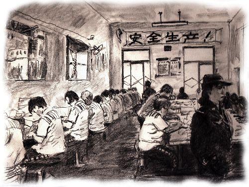 示意图:中共监狱中的奴工迫害