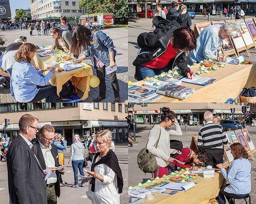 '图2-3,瑞典耶夫勒民众签名支持法轮功学员反迫害'