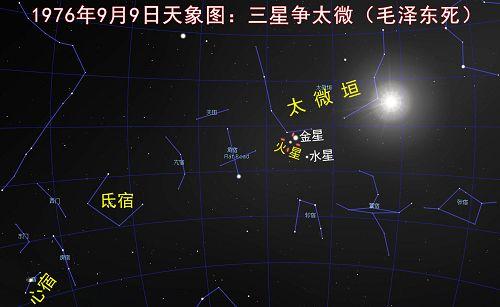 图:1976年9月9日,毛泽东去世当天的天象图