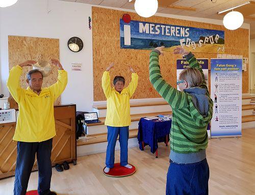 法輪功學員參加奧爾堡的自由學校健康展,遊客現場學功。